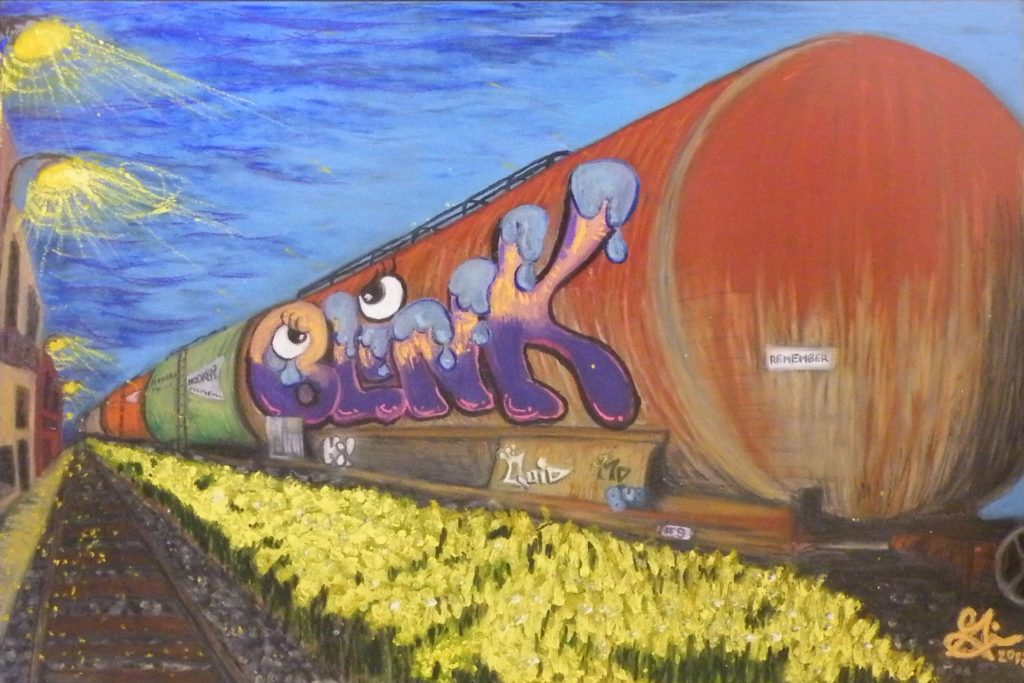 HONORABLE MENTION: Grafitti Train, Oil Pastel by Guerin Wolf, 24x36 (February 2013)