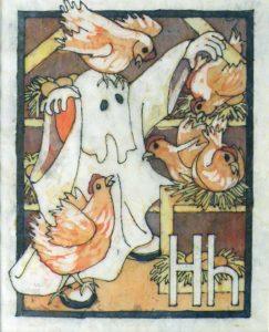 H-Henry Haunted the Hen..., Batik by Sally Rhone-Kubarek, 10.5x8.5 (February 2013)
