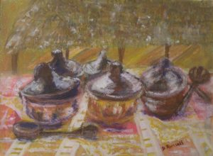 Karibu Suppertime Tanzania, Mixed Media by Diane B. Russell, 11in x 15in (June 2013)