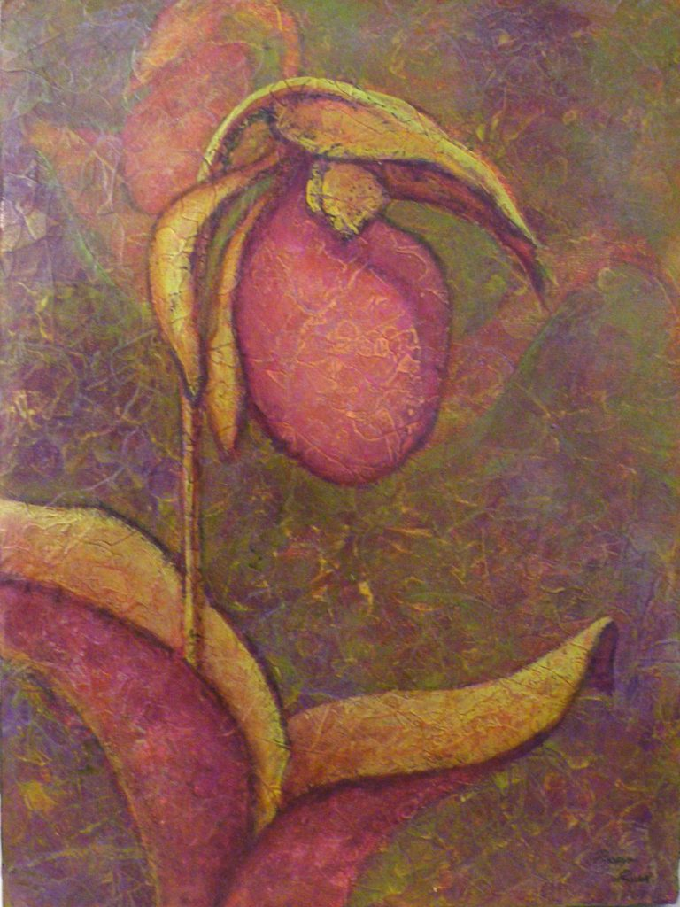 HONORABLE MENTION: Lady Slipper, Acrylic by Robyn Ryan, 16inx 20in (April 2013)