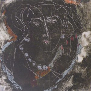 Lady in Pearls, Monotype Ink and Pastel by Retta Robbins, 12inx12in Framed 22inx21in (March 2013)