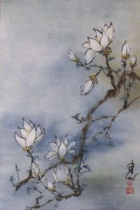 Magnolia Branch, Sumi-e by Carol Waite, 18in x 12in Framed 22in x 16in (August 2013)