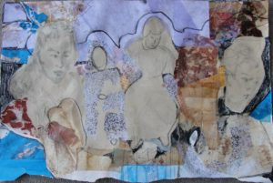 Market Women, Mixed Media by Jane Winders Frank, 14.5in x 22in (July 2013)