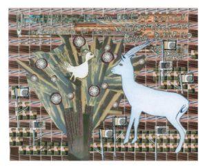My Love, My Dove, Mixed Media Paper Collage by Teresa Blatt, 22in x 25in (July 2013)