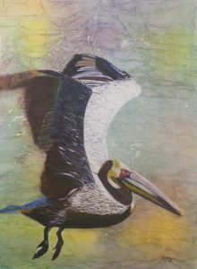 Pedantic Pelican, Watermedia by Bev Bley, Unframed 29in x 21.5in Framed 36in x 28 (April 2013)