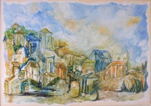Picturesque Hamlet, Watercolor on YUPO by Rita Rose & Rae Rose, 37in x 26in (June 2013)