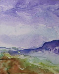 Royal Mountain Royal Sky, Watercolor on YUPO by Rita Rose & Rae Rose, 20in x 16in (June 2013)