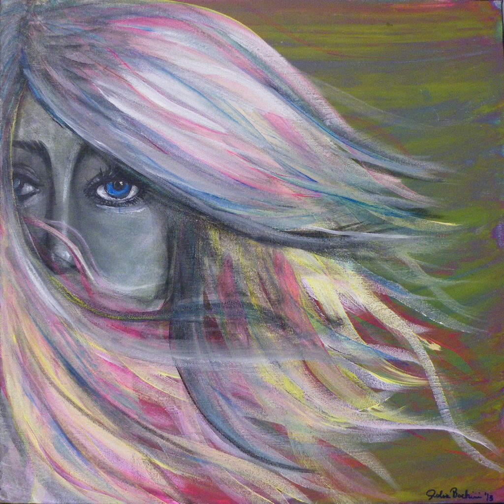 HONORABLE MENTION: Shy, Acrylic by Julia Bachini, 12in x12in (April 2013)