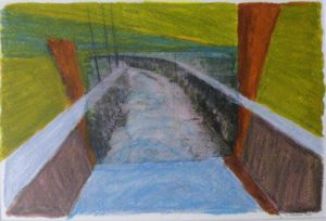 Spillway Park Series II, Photo Transfer, Caran d'ache by David Lovegrove, 8in x 12in (May 2013)