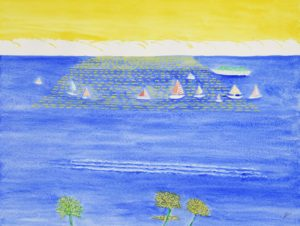 Sunset, Waikiki, Oahu, Watercolor by Bro Halff, 12in x 16in (July 2013)