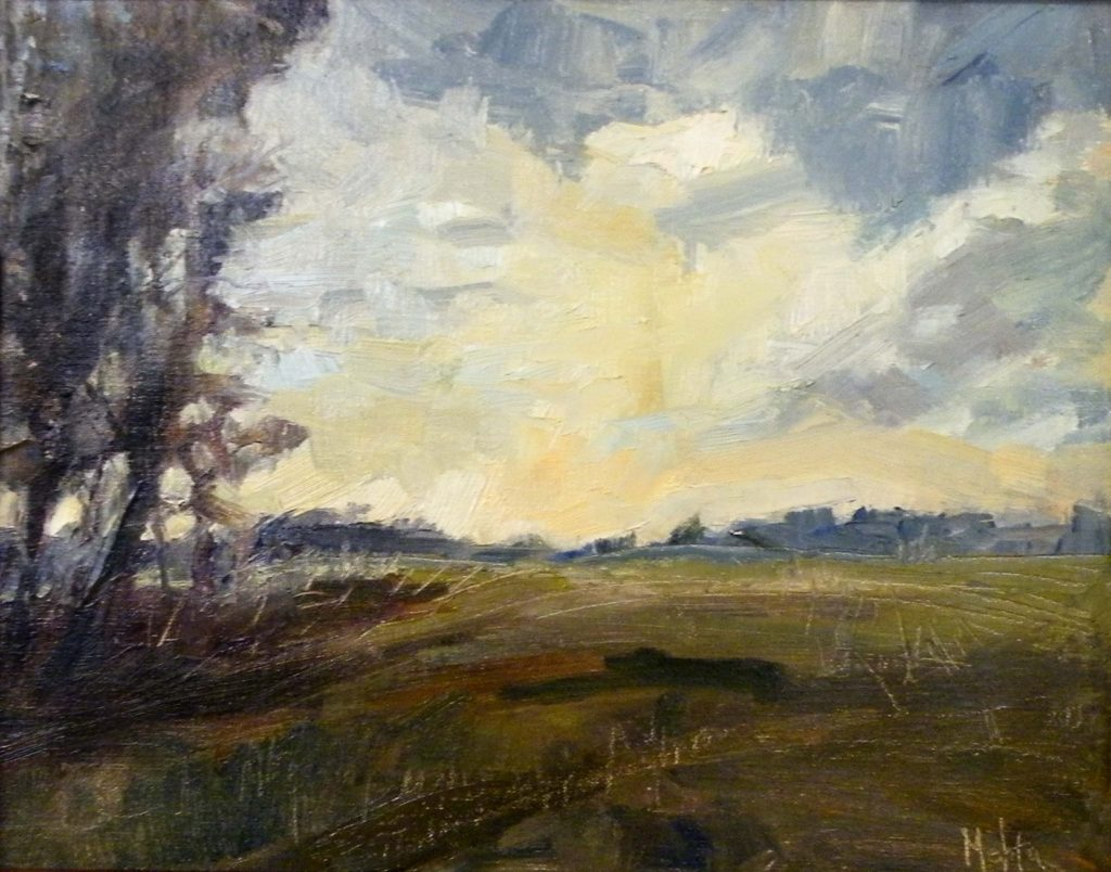 HONORABLE MENTION: Sunset on the Open Field, Oil by Lynn Mehta, 11in x 14in (June 2013)