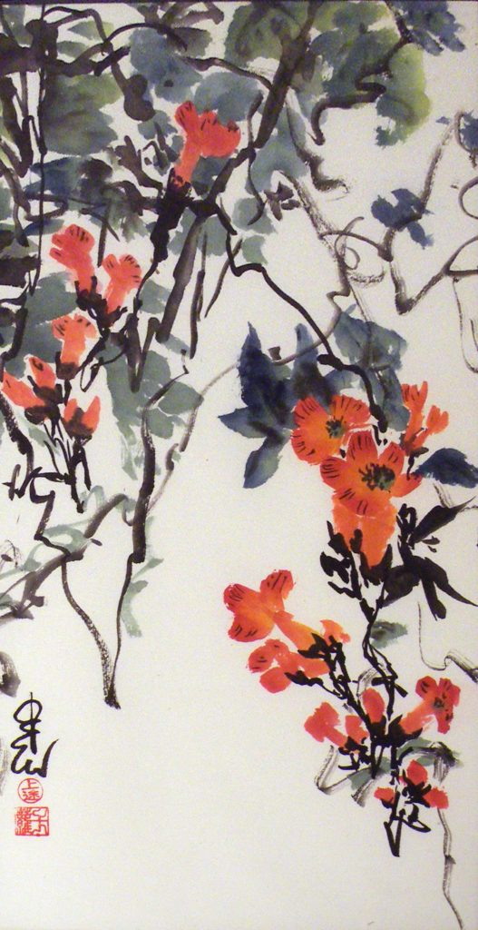 HONORABLE MENTION: Trumpet Vines, Sumi-e by Carol Waite, 18in x 9in Framed 23in x 14in (August 2013)