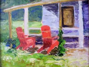 Two Red Chairs, Oil on Board by Christina Weaver Smith, 9in x 12in (August 2013)