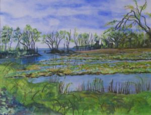 Bird Blind, April, Watercolor by Pat Knock, Size 10.3in x 13.5 (October 2013)
