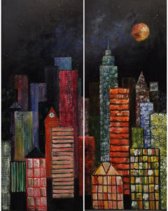City Lights at Night Diptych, Acrylic by Peggy Wickham, 40in x 32in, $800 (May 2018)