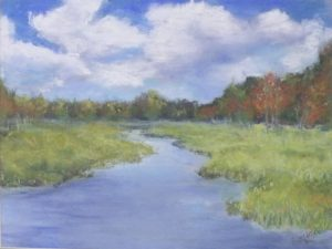 Jordans Pond, Pastel by Betty Martley, Size 9in x 12in (October 2013)
