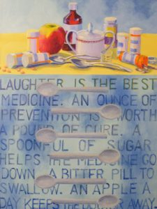 MEDs, Acrylic on Canvas by Jean Lauzon, Size 24in x 18in (October 2013)
