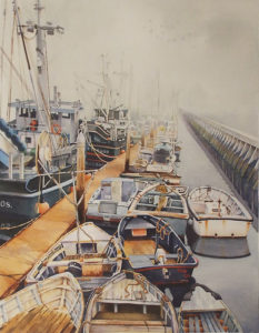 Monterey Morning, All Lined Up, Watercolor by Lizabeth Castellano-King, 18in x 14in, $1250 (May 2018)