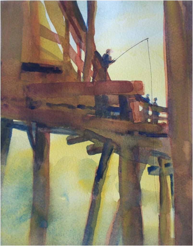 HONORABLE MENTION: OBX Pier, Watercolor by Marcia Chaves, 14in x 11in, $325 (May 2018)