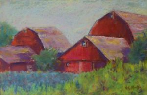 Old Red Barns, Pastel by Kay L Roscoe, Size 11in x 17in (October 2013)