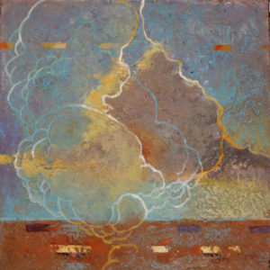 "Cloud Fracture #1, , Oil, wax, oil pastel, brass filing, egg tempera on wood by Joseph Di Bella, 10"" x 10"", $250 (June 2018)"