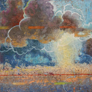"Cloud Fracture #2, Oil, wax, oil pastel, brass filing, egg tempera on wood by Joseph Di Bella, 10"" x 10"", $250 (June 2018)"