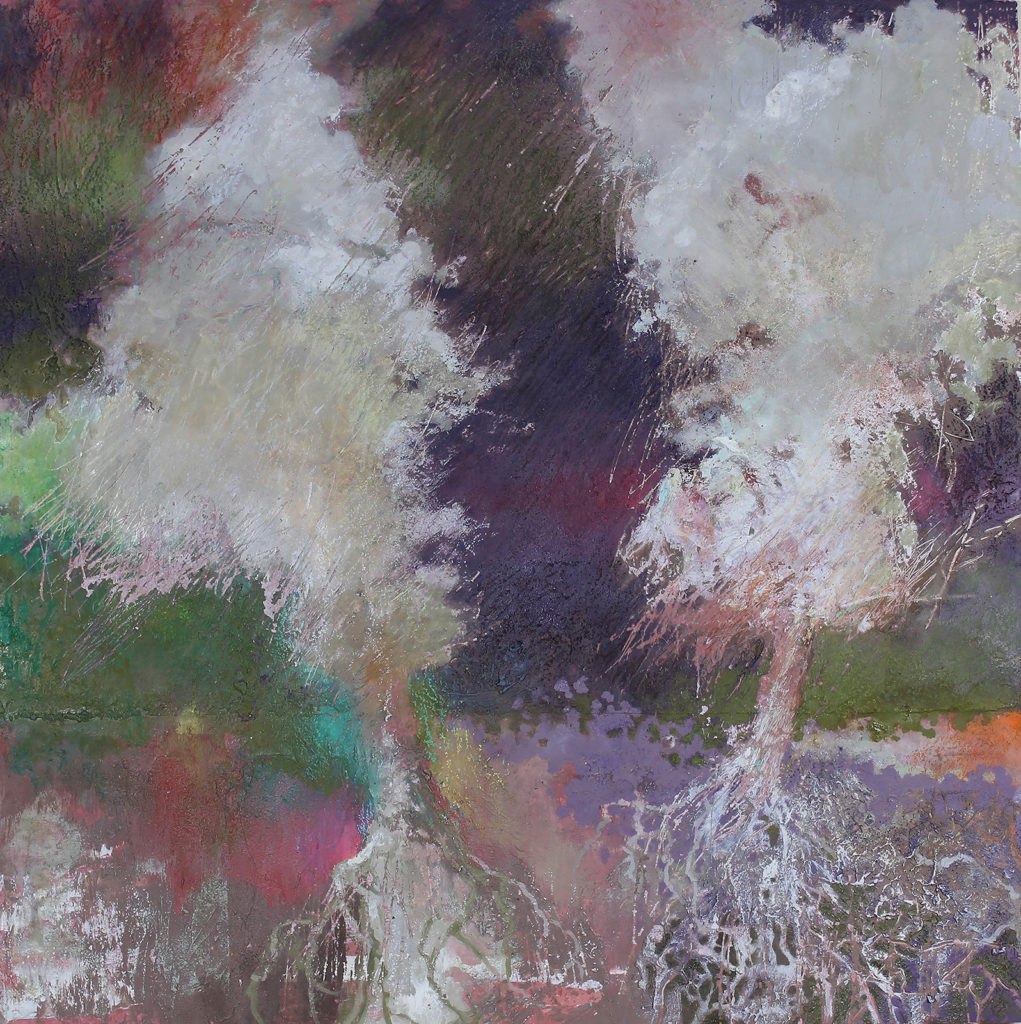 "Ghost Trees #4, Oil, wax, oil pastel on wood by Joseph Di Bella, 18""x18"", $450 (June 2018)"