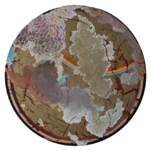 "Oculus I, Egg tempera, acrylic, wax on wood by Joseph Di Bella, 11.75"" circle, $450 (June 2018)"