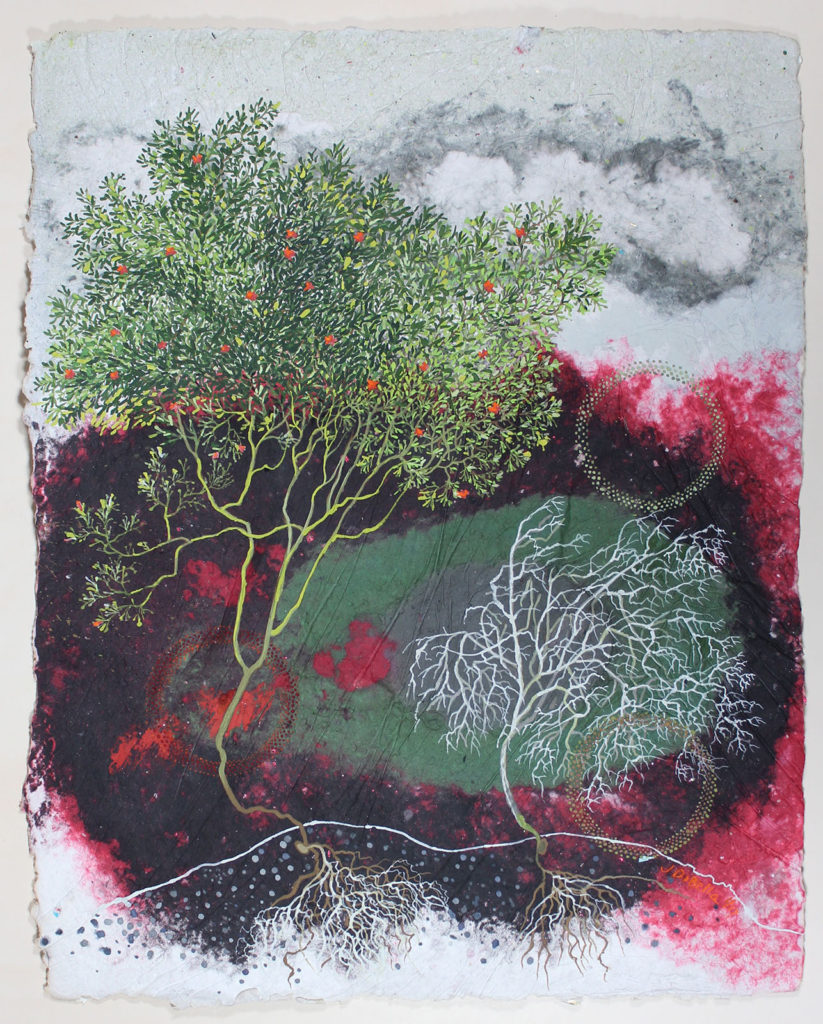 "Tree Parable (Waterfeed), Gouache, dry pigment, ashes, handmade paper by Joseph Di Bella, 39"" x 31"", $1,200 (June 2018)"