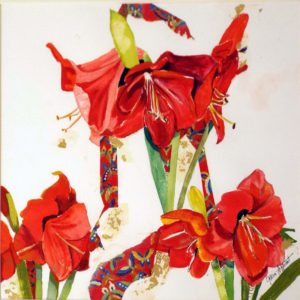 Bejeweled Amaryllis, Watercolor and Collage by Gloria G. Affenit, 14in x 14in, $250 (July 2018)
