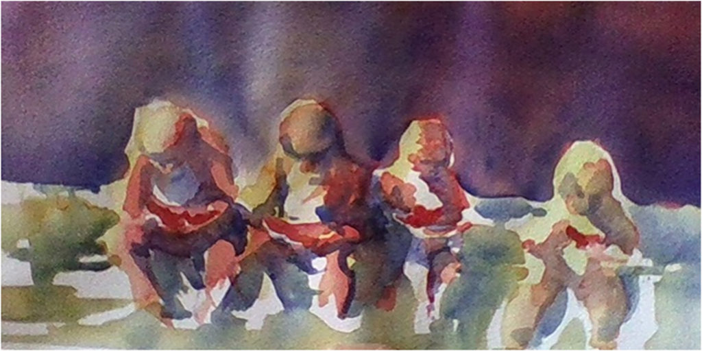 HONORABLE MENTION: Windsor Circle Watermelons, Watercolor by Marcia Chaves, 7in x 14in, $225 (July 2018)