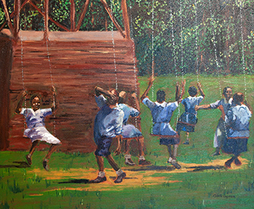 Swinging Kids, a painting by Collette Caprara (MG: January 2013)