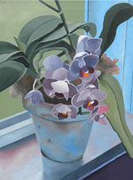 Purple Orchids and Greens, a painting by Kathy Guzman (MG: April 2013)