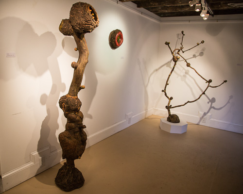 Sculptures in Marc Robarge's  member's gallery show