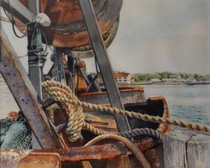 Montauk Pier 1, Watercolor by Lizbeth Castellano-King, 16in x 20in, $400 (August 2018)