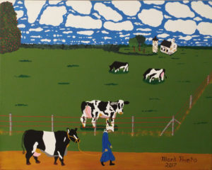 Amish Teen Leading Cow, Acrylic on Canvas by Mark Prieto, 16in x 20in, $350 (September 2018)