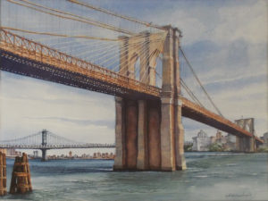 East River Crossings, Watercolor by Lizabeth Castellano-King, 18in x 24in, NFS (September 2018)