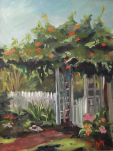 The Garden Gate, Oil on Canvas by Christena Smith, 24in x 18in, $575 (September 2018)