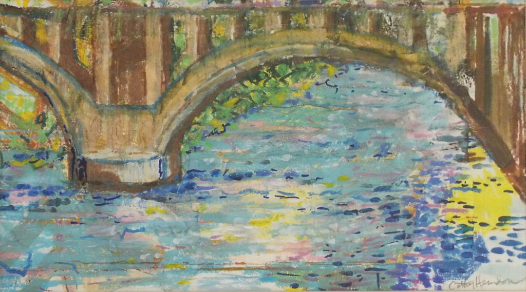 HONORABLE MENTION: Fredericksburg Icons-Railroad Bridge, Mixed Media by Cathy C Herndon, 10in x 18in, $255 (November 2018)