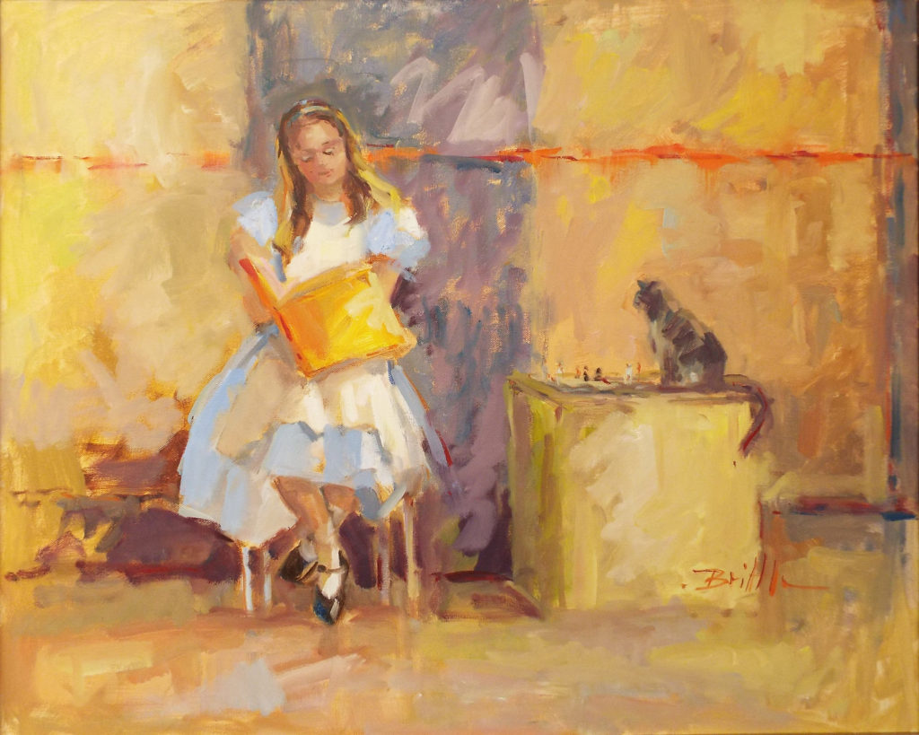 SECOND PLACE: Alice and Her Kitty, Oil on Canvas by Nancy Brittle, 24in x 30in, $1200 (Dec. 2018-Jan. 2019)
