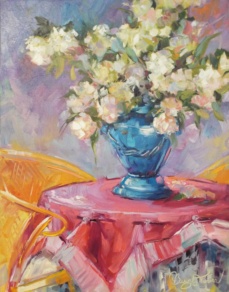 HONORABLE MENTION: Colorful Enchantment, Oil by Beverly Toves, 14in x 11in , $350 (Dec. 2018-Jan. 2019)