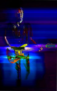 Joe and His Strat, Digitally Manipulated Photo by David Kennedy, 16in x 10in, $150 (Dec. 2018-Jan. 2019)