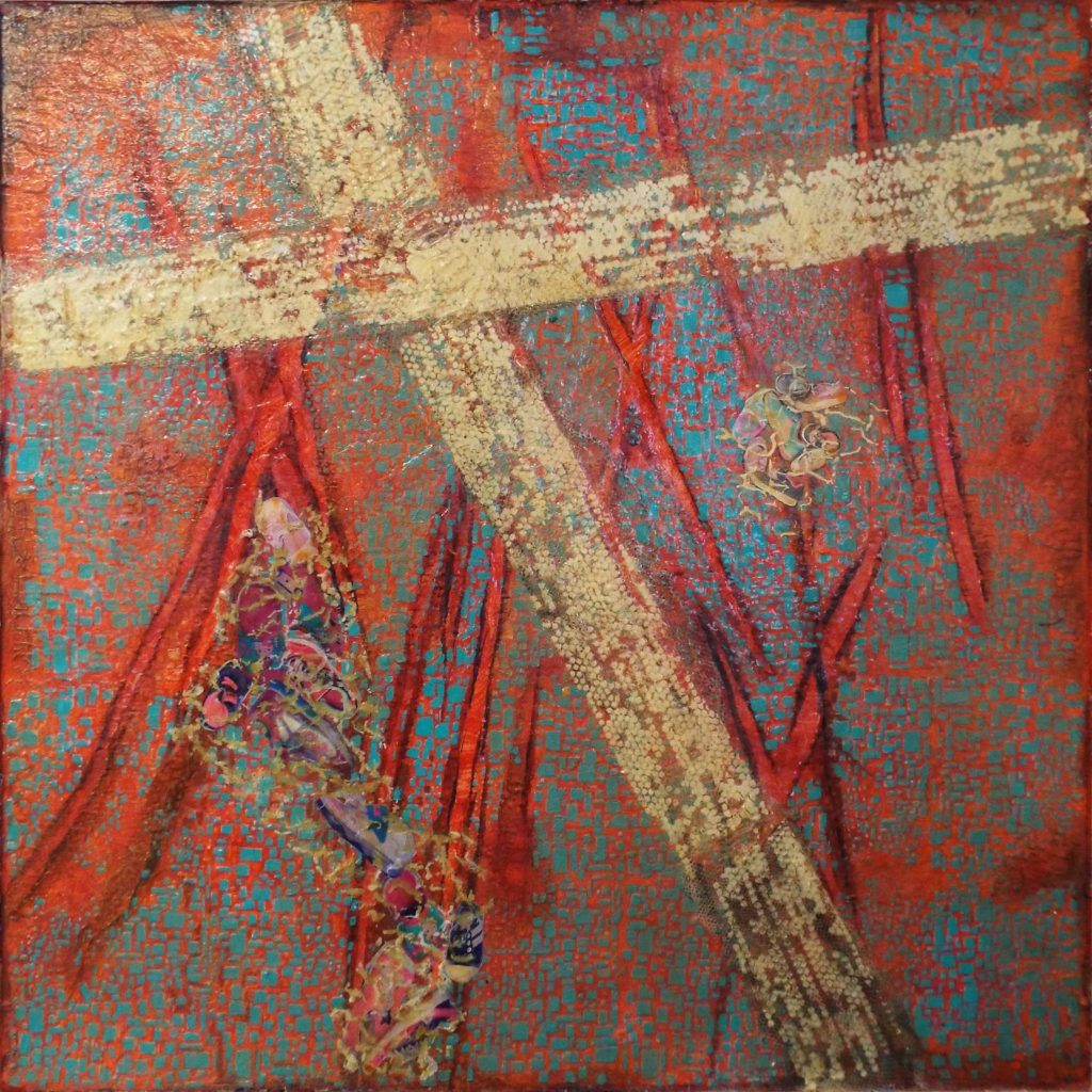 HONORABLE MENTION: Los Desaparecidos, Mixed Media by Patricia Smith, 30in x 30in, $500 (Dec. 2018-Jan. 2019)