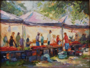 The Produce Line, Oil by Beverly Toves, 12in x 16in, $799 (Dec. 2018-Jan. 2019)