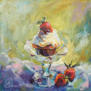 Vanilla, Chocolate & Strawberries, Oil by Beverly Toves, 12in x 12in, $299 (Dec. 2018-Jan. 2019)