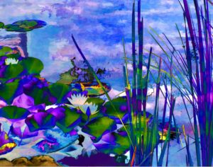 Water Lilies, Digital Creation, by Carolyn R. Beever, 11in x14in, $150 (Dec. 2018-Jan. 2019)
