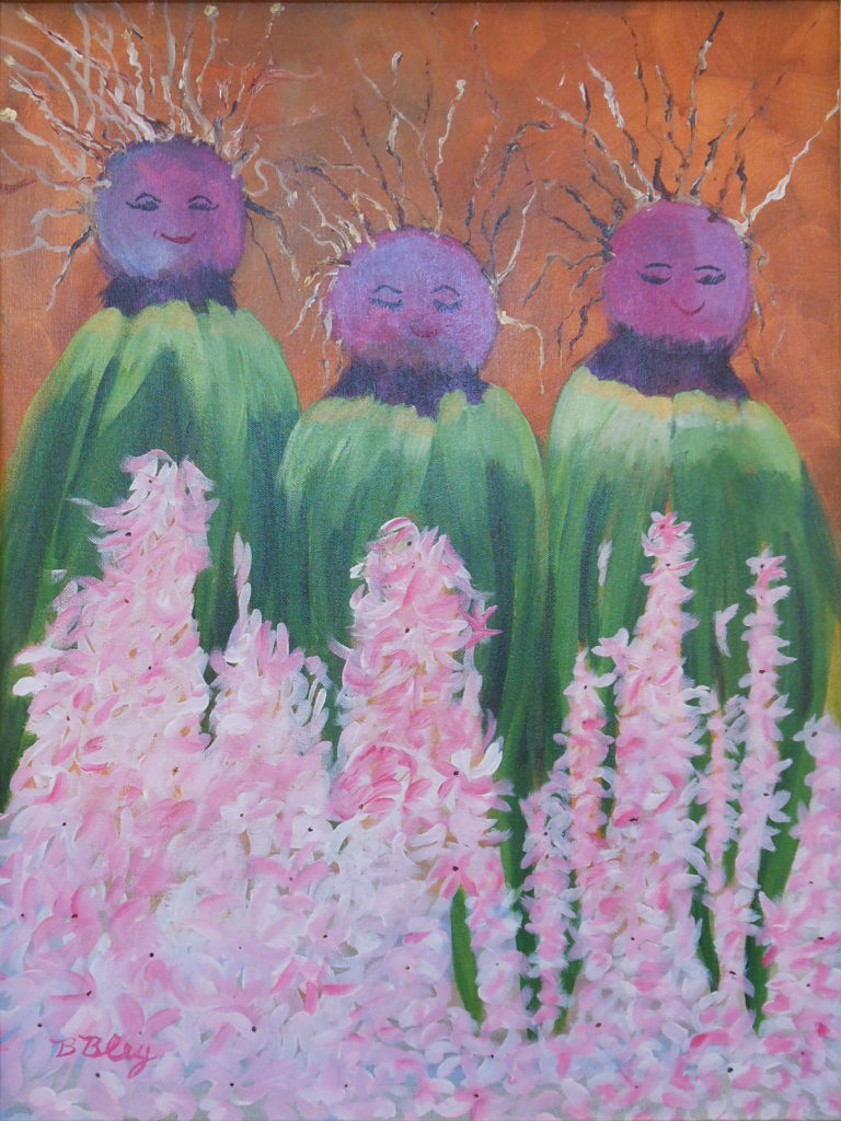 HONORABLE MENTION: Hyacinth Queens, Acrylic by Bev Bley, 24in x 18in, $300 (March 2019)