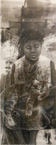 Little Girl Holding a Cat, Ink & Acrylic on Clayboard by Phyllis Graudszus, 9in x 3.5in, NFS (March 2019)
