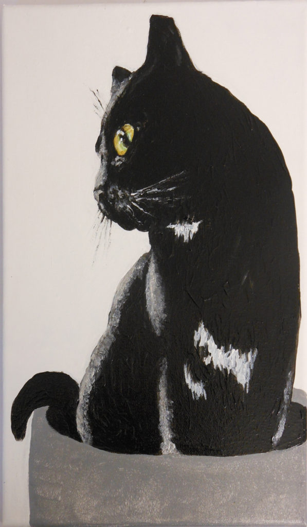 HONORABLE MENTION: Tuxie, Looking Out the Window, Acrylic by Lisa Leon, 12in x 7in, NFS (March 2019)