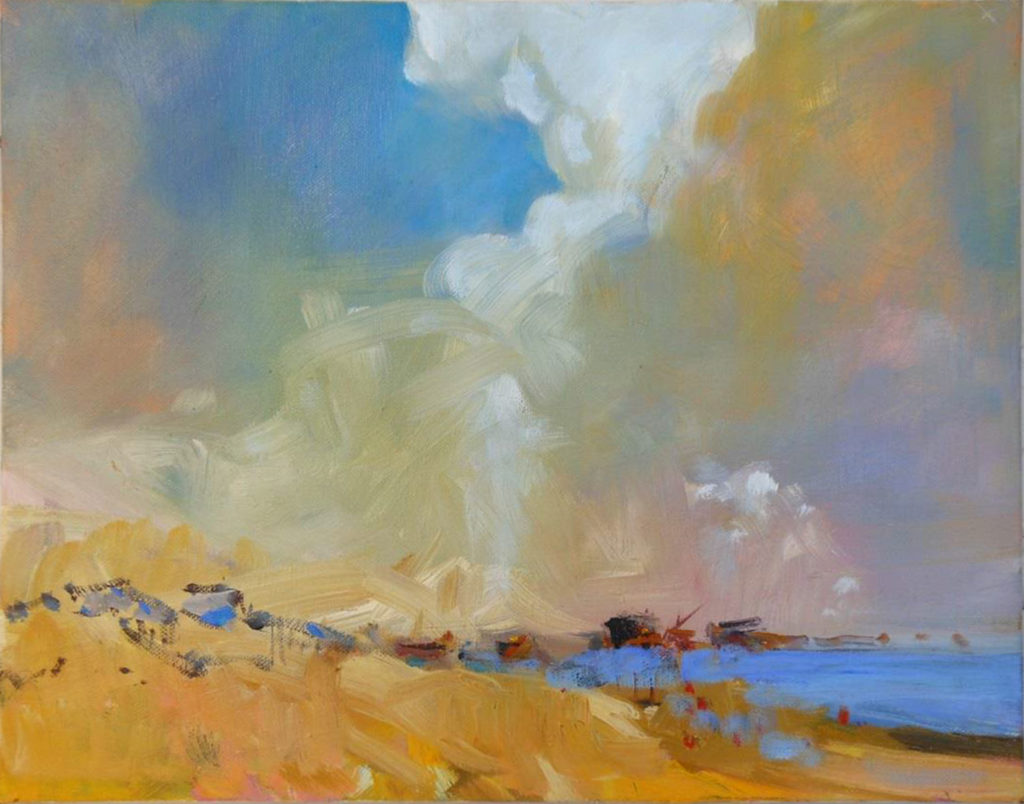 HONORABLE MENTION: Sky Scape, Oil by Marcia Chaves, 11in x 14in, $185 (April 2019)